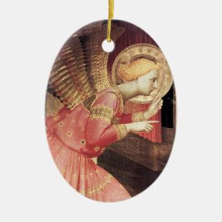 ÁNGEL del ANUNCIO EN piedra de gema del ROSA Y del Adorno Navideño Ovalado De Cerámica