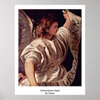Ángel del anuncio por Titian Póster