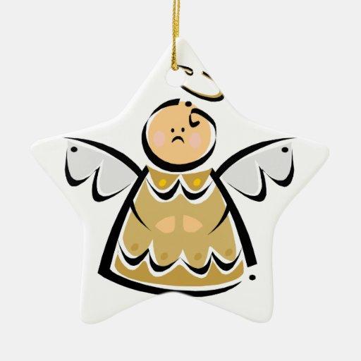 Ángel del árbol de navidad adorno navideño de cerámica en forma de estrella