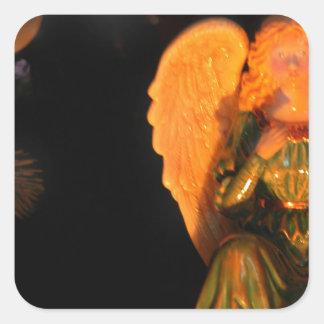 Ángel del árbol de navidad pegatina cuadrada