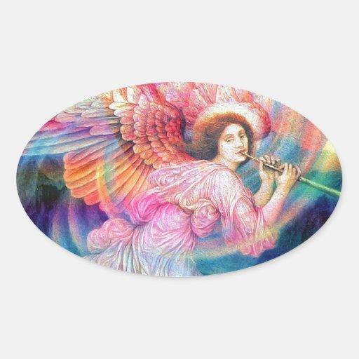 Ángel del arco iris colcomanias de óval personalizadas