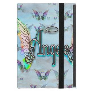 Ángel del arte de la palabra con las alas y halo iPad mini fundas