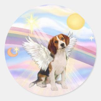 Ángel del beagle pegatina redonda