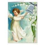 Ángel del bebé con Bell azul Felicitaciones