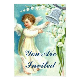 Ángel del bebé con Bell azul Invitación 12,7 X 17,8 Cm