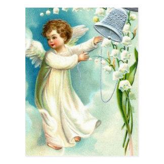 Ángel del bebé con Bell azul Postal