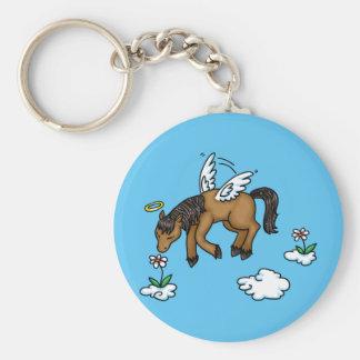 Ángel del caballo llavero redondo tipo pin
