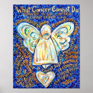 Ángel del cáncer del azul y del oro póster