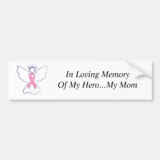 ángel del cáncer del pecho de la mamá, en memoria  pegatina para auto