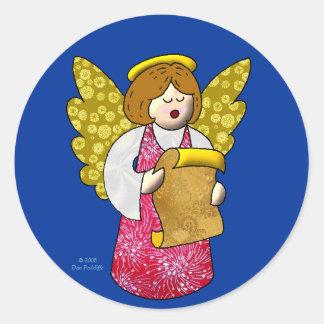 Ángel del canto pegatina redonda