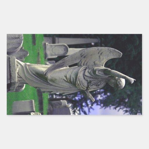 Ángel del cementerio pegatina rectangular