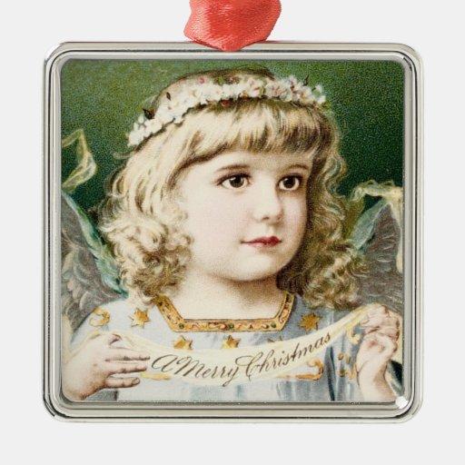 Ángel del chica del vintage adorno navideño cuadrado de metal