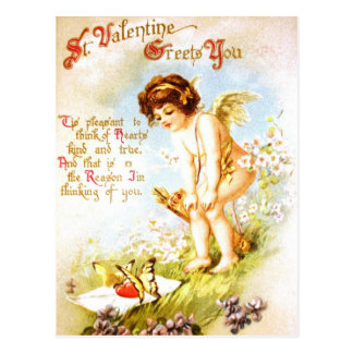 Ángel del Cupid de la letra de amor de la postal d