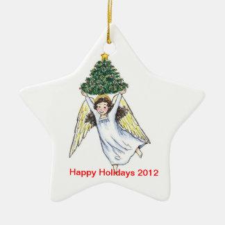 Ángel del día de fiesta que sostiene el árbol adorno navideño de cerámica en forma de estrella