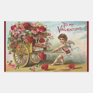 Ángel del día de San Valentín del vintage, carro Pegatina Rectangular