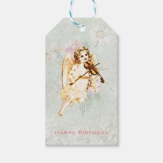 Ángel del feliz cumpleaños que toca un violín etiquetas para regalos