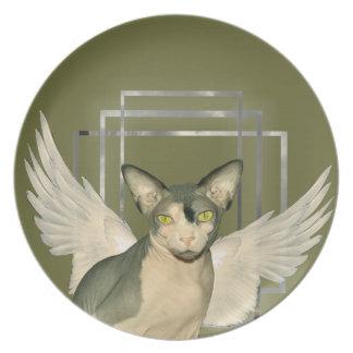 Ángel del gato de la placa el | Sphynx Plato De Cena