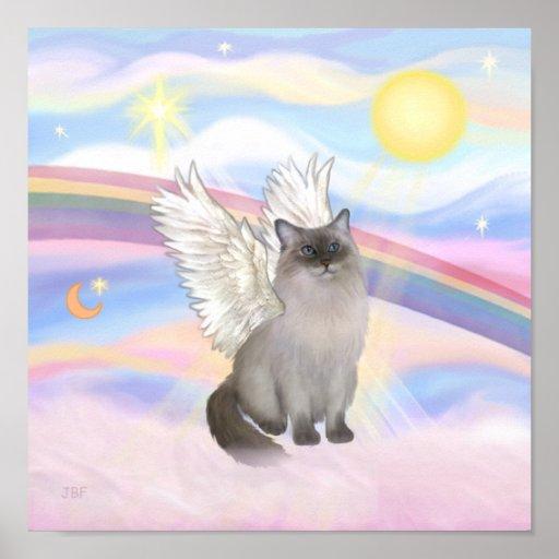 Ángel del gato de Ragdoll (punto azul) - nubes Póster
