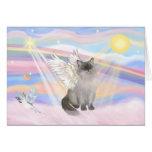 Ángel del gato de Ragdoll (punto azul) - nubes Tarjetón