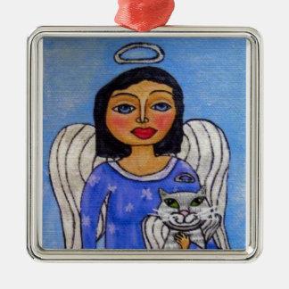 Ángel del gato del ángel del arte popular ornamento de navidad