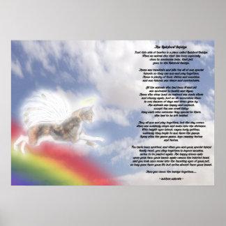 Ángel del gato en el puente del arco iris póster