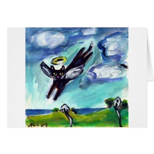 Ángel del gato negro tarjeta de felicitación