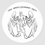 Ángel del guarda del minero de carbón pegatina redonda