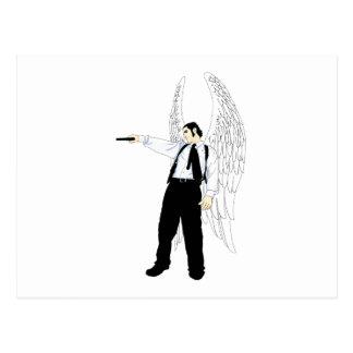 Ángel del Hitman de dios con una pistola Tarjeta Postal