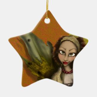 Ángel del lirio adorno navideño de cerámica en forma de estrella