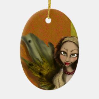 Ángel del lirio adorno navideño ovalado de cerámica