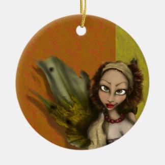 Ángel del lirio adorno navideño redondo de cerámica
