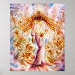 Ángel del lirio por el iris de Lisa Poster
