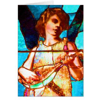 Ángel del Musical del vitral de Tiffany Tarjeta De Felicitación