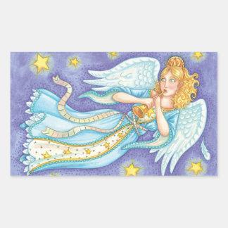 Ángel del músico del navidad del dibujo animado pegatina rectangular