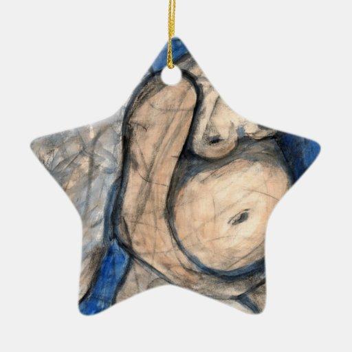 Ángel del nacimiento adorno de cerámica en forma de estrella
