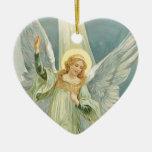 Ángel del navidad adorno navideño de cerámica en forma de corazón