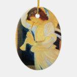Ángel del navidad adorno navideño ovalado de cerámica