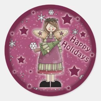 Ángel del navidad con el árbol de navidad pegatina redonda