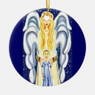 Ángel del navidad con Jesús Adorno Navideño Redondo De Cerámica