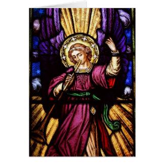Ángel del navidad con la trompeta tarjetas