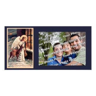 Ángel del navidad con los ciervos Photocard Tarjeta Personal Con Foto