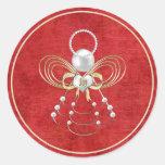 Ángel del navidad de la alegría - rojo pegatina redonda