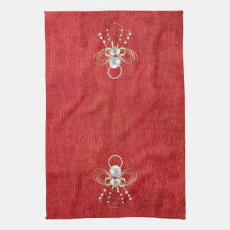 Ángel del navidad de la alegría - rojo toalla de cocina