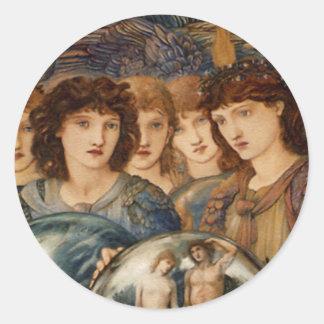 Ángel del navidad del arte del vintage de la creac pegatina redonda