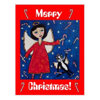 Ángel del navidad del bastón de caramelo y postal