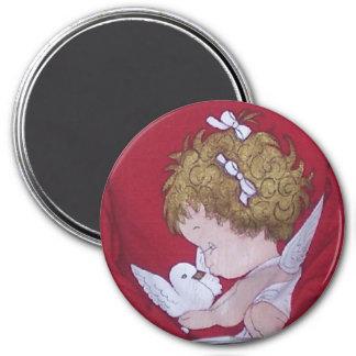 Ángel del navidad del bebé imán redondo 7 cm