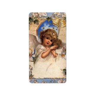 Ángel del navidad del Victorian del vintage con la Etiqueta De Dirección