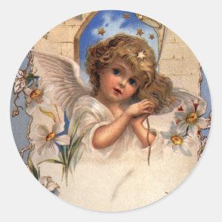 Ángel del navidad del Victorian del vintage con la Pegatina Redonda