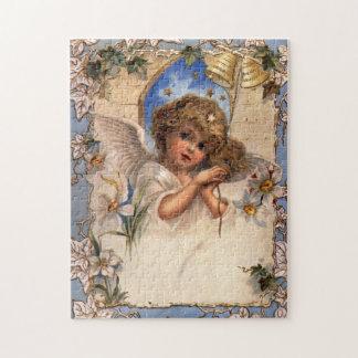 Ángel del navidad del Victorian del vintage con la Puzzles Con Fotos