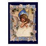 Ángel del navidad del Victorian del vintage con la Tarjetón